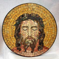 Antique Italian Jesus Mosaic Portrait