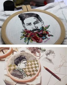 Embroidery artist Sol Kesseler creates detailed thread portraits that look hand-drawn.