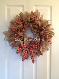 Primitive burlap and gingham rag wreath
