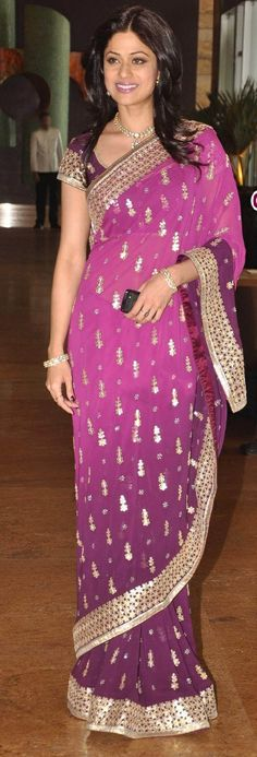 #Purple Faux #Georgette Bollywood Replica #Saree