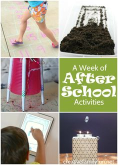 A week of after school activities for your school aged kids.