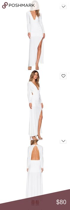 NBD ✨own the night maxi dress This dress is sold out everywhere! NBD ivory maxi dress. Worn once for an all white party, which it was perfect for! super sexy & so easy but I'll never wear it again & need to make room in my closet. Not a single stain, in perfect condition, make an offer! 😊 NBD Dresses Maxi