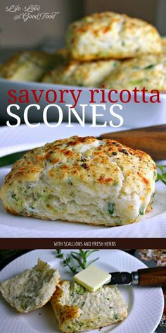 Savory Ricotta Scones--A light and fluffy savory scone that is perfect for breakfast, brunch, or served in place of dinner rolls. Brunch Recipes, Breakfast Recipes, Scone Recipes, Breakfast Scones, Savory Breakfast, Bread Recipes, Southern Breakfast, Breakfast Cooking, French Dessert Recipes
