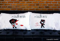 """They say opposites attract, and here's the proof! Naughty and nice fit together perfectly when love plays a role. Show him he's your hero with this clever couple pillow cases and tell him """"We are Irresistibly Attracted!"""" Perfect Valentine's Day gifts for boyfriend or husband."""