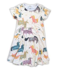 Another great find on #zulily! Cream & Pastel Unicorns Sublimated Swing Dress - Toddler & Girls #zulilyfinds