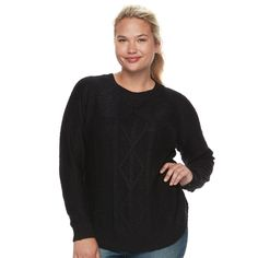 Juniors' Plus Size SO® Shirttail Cable-Knit Sweater, Teens, Size: 2XL, Oxford
