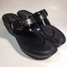 Cole Haan Air Maddy Tant Thong Black Buckle Wedges Leather Sandals Sz 6.5 AA #ColeHaan #PlatformsWedges #Casual