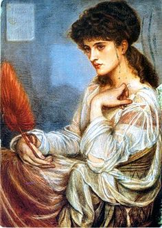 """Portrait of Maria Theresa Zambaco,"" 1870. Dante Gabriel Rossetti (1828 – 1882). pastel on paper. Clemens Sels Museum, Neuss, Germany."