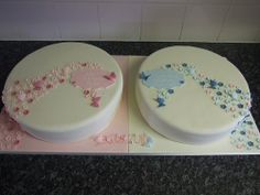 Twin Christening Cakes   Flickr - Photo Sharing!