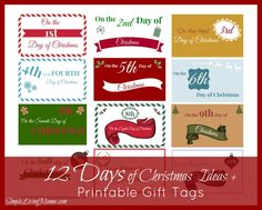 12 days of Christmas gift ideas plus FREE printable gift tags!
