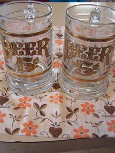 SPRING SALE Vintage Culver Clear Glass Beer Mugs, Beer Steins, Pair, 22kt Gold Embossed, Beer 5 Cents, Mid Century Barware, Mid Century Barw