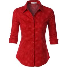 LE3NO Womens Polka Dots Button Down 3/4 Sleeve Tailored Shirt ($21) ❤ liked on Polyvore featuring tops, shirts, blouses, red, polka dot top, 3/4 sleeve tops, tailored shirts, red polka dot top and red polka dot shirt