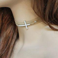 Brown Suede. Rhinestone Sideways Cross Choker Cross Choker, Sideways Cross, Brown Suede, Arrow Necklace, Chokers, Jewellery, Chain, Sunlight, Goat
