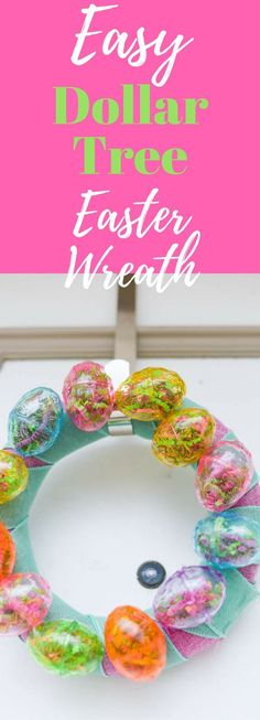 Make this super cute Easter wreath using materials from the Dollar Tree! This would be the perfect project to make with friends, a church group, or even for a group of kids. Find supplies at the Dollar Tree or order in bulk online. #clarkscondensed #dollartreecrafts #dollartree #dollarstore #easter #eastercraft #diy #diywreath