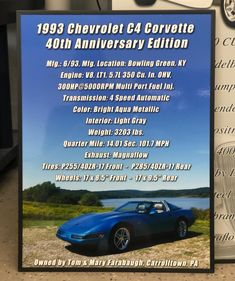 Check out this #carshowboard we just got done for a very nice #c4corvette #40thanniversaryedition ! Get one for your car at showcarsign.com #chevycorvette #c4vette #anniversarycorvette #c4fans