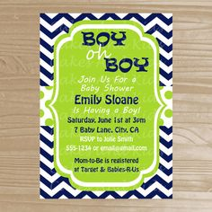 Baby Shower Invitation  Navy and Lime Boy by CakesAndKidsDesigns, $10.00