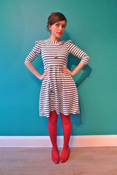 Nautical Knit Dress - am not stripes-mad but the juxtaposition with the solid red is very, very cute