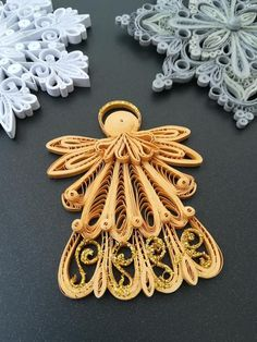 Set of 2x Quilling Christmas Snowflake Ornament and Gold   Etsy