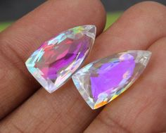 4 Pcs 2 Pair 9x17 mm AAA Rainbow Quartz by gemsinternational