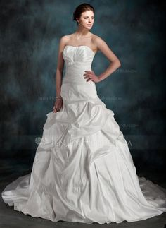 Wedding Dresses - $198.99 - Ball-Gown Sweetheart Chapel Train Taffeta Wedding Dress With Ruffle Bow(s) (002000097) http://jenjenhouse.com/Ball-Gown-Sweetheart-Chapel-Train-Taffeta-Wedding-Dress-With-Ruffle-Bow-S-002000097-g97