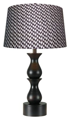 Stylized fish shaped segments create this chunky turned metal profile with oversized base and Ikat patterned shade. Dimensions: 30 High, 15 Wide. Cordless Lamps, Ikat Pattern, Fish Shapes, Oil Rubbed Bronze, Light Fixtures, Table Lamp, Shades, Lighting, Metal