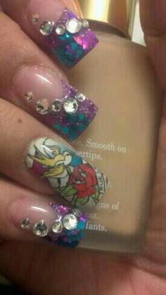 Ed Hardy tattoo nails