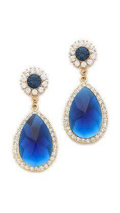 glassy beautiful sapphire blue teardrop earrings  shay accessories