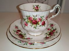 PARAGON Vintage China Minuet Tea Cup Saucer Side Plate Trio Set Pink Red Roses 6