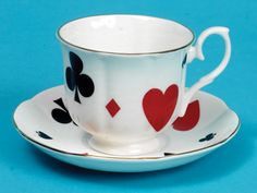 playing card suits cup & saucer