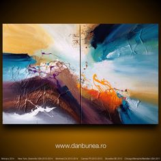 "Large abstract painting by Dan Bunea: ""Come fly with me"",  80x120cm on Etsy, $800.00"