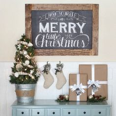 Create this simple Christmas Vignette with chalkboard art & a few other items that you probably already have on hand.