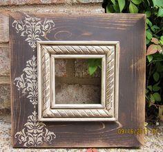 Items similar to Damask Distressed Picture Frame, Mudslide / Linen on Etsy Picture Frame Inspiration, Distressed Picture Frames, Unique Picture Frames, Picture Frame Crafts, Wood Crafts, Diy And Crafts, Damask Decor, Diy Frame, Diy Wall Art