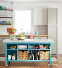 Build your own kitchen island from two sofa tables and a countertop. This custom solution sports plenty of storage, plus DIY bragging rights.