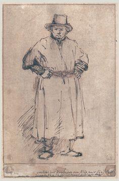 Rembrandt van Rijn Drawings SELF PORTRAIT IN STUDIO ATTIRE, FULL-LENGTH c. 1655 203 x 134 mm. Rembrandt Huis, Amsterdam
