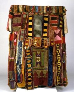 Yoruba peoples, Nigeria, Egungun Masquerade Costume (detail), circa 1930–50, cloth, wood, and buttons, H. approx. 60 in.