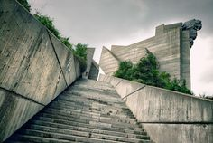 Steps leading up to a communist era monument in the town of Shumen, Bulgaria