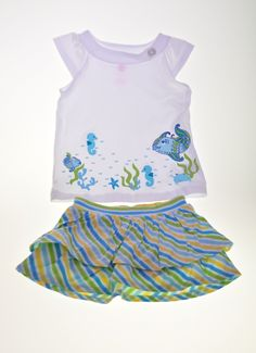 White marine T-shirt from J. Khaki with spring skirt from Crazy 8.   Available at: http://wittlebee.com/