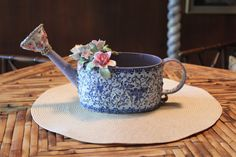 Mosaic Blue Watering Can