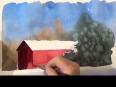 Watercolor Painting Red Barn in Snow, Deb Watson