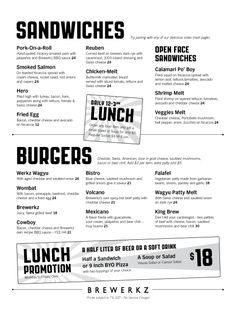 condensed lunch menu