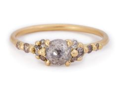 Grey Rose-cut Diamond Cluster Halo Ring 18Y copy