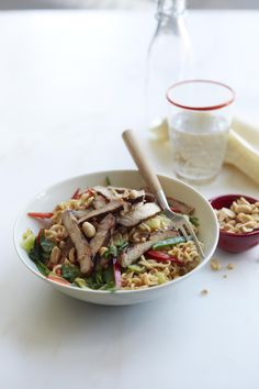 Peanut Pork and Noodles #myplate #pork #pasta