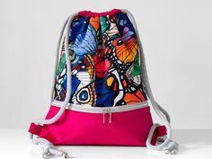 BAG BACKPACK drawstring sack pink raspberry butterflies unique urban romantic WORKOPLECAK worek plecak różowy w motyle miejski romantyczny Drawstring Bags, Backpack Bags, Bright Pink, Bag Making, Butterflies, Raspberry, Handmade Items, Vogue, Polish