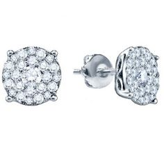10K White Gold Round Cut Diamond Round Shape Cluster Earrings (0.50 cttw) Look of 1 CT each