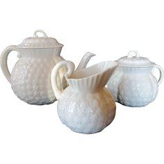 Vintage Lenox Small Teapot, Covered Sugar and Cream Jug ~ Hawthorne White Pattern c 1930