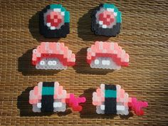 Half Empty Heart — 6 piece set of Perler bead sushi magnets. - Half Empty Heart — 6 piece set of Perler bead sushi magnets. Melty Bead Patterns, Pearler Bead Patterns, Perler Patterns, Beading Patterns, Bead Loom Patterns, Quilt Patterns, Loom Beading, Perler Bead Templates, Diy Perler Beads
