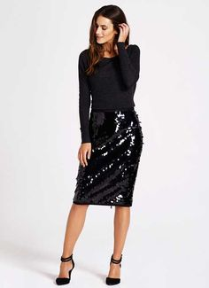 Black Sequin Pencil Skirt by `mint velvet