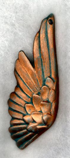 Faux Copper Wing Pendant made of Porcelain