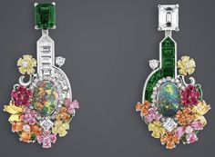 "DIOR. ""Light Opal Girandole Grove"" earrings in white, pink and yellow gold, platinum, diamonds, emeralds, light opals, spessartite garnets, pink sapphires, tsavorite garnets, yellow diamonds, yellow sapphires and rubies #DIOR #DIORÀVersaillesCôtéJardins #DIORJewellery #HighJewelry #FineJewellery #HauteJoaillerie"