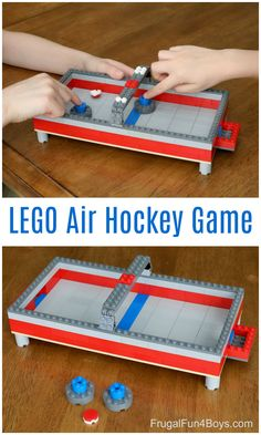 This LEGO air hockey game actually works! Fun building challenge for kids. # Build a LEGO Air Hockey Table - Frugal Fun For Boys and Girls Lego For Kids, Diy For Kids, Crafts For Kids, Legos, Lego Activities, Lego Games, Kid Games, Lego Challenge, Lego Club